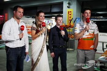 (L to R): Ted Kravitz, Sky Sports Pitlane Reporter with Natalie Pinkham, Sky Sports Presenter; Anthony Davidson, Sky Sports F1 Commentator; and James Calado, Sahara Force India Third Driver