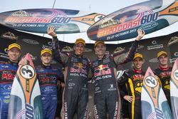 Podium: race winner Craig Lowndes and Warren Luff, second place Shane van Gisbergen and Jeroen Bleekemolen, third place Mark Winterbottom and Steven Richards