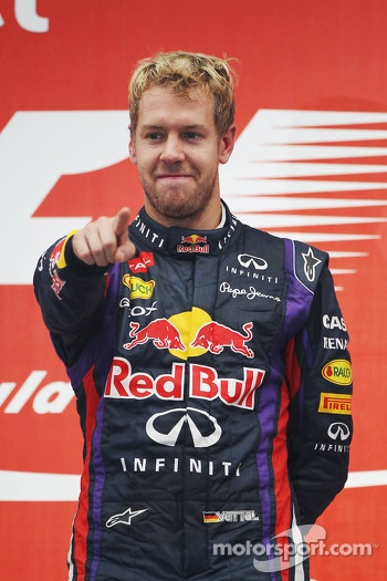 Race winner and World Champion Sebastian Vettel, Red Bull Racing celebrates on the podium