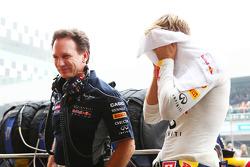 Sebastian Vettel, Red Bull Racing with Christian Horner, Red Bull Racing Team Principal on the grid