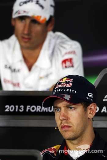 Sebastian Vettel, Red Bull Racing and Adrian Sutil, Sahara Force India F1 in the FIA Press Conference
