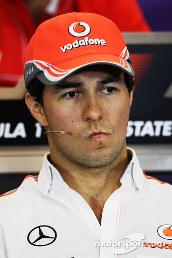 Sergio Perez, McLaren in the FIA Press Conference