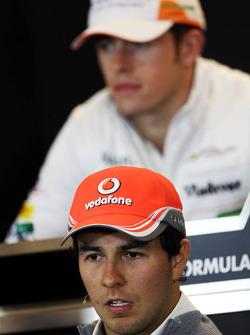 Sergio Perez, McLaren and Paul di Resta, Sahara Force India F1 in the FIA Press Conference