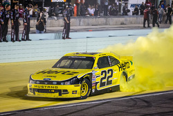 Joey Logano celebrates NASCAR Nationwide Series 2013 car owner championship by Roger Penske