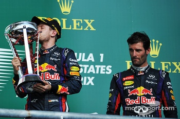 Race winner Sebastian Vettel, Red Bull Racing, third place Mark Webber, Red Bull Racing