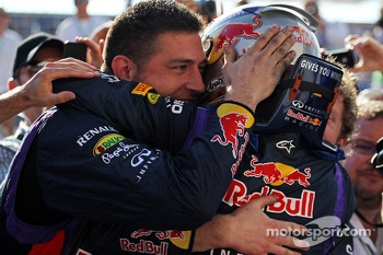 Sebastian Vettel, Red Bull Racing celebrates his 8th consecutive win in parc ferme with the team