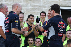 (L to R): Dr Helmut Marko, Red Bull Motorsport Consultant; Adrian Newey, Red Bull Racing Chief Technical Officer; Sebastian Vettel, Red Bull Racing; Christian Horner, Red Bull Racing Team Principal and a bottle of Jagermeister