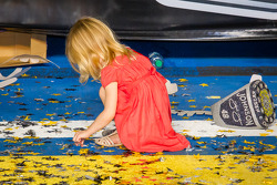 Championship victory lane: Jimmie Johnson's daugther celebrates on her own