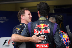 Christian Horner, Red Bull Racing Team Principal celebrates with Mark Webber, Red Bull Racing in parc ferme