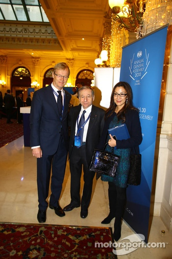 (L to R): Ari Vatanen, Former World Rally Champion with Jean Todt, FIA President and his wife Michelle Yeoh