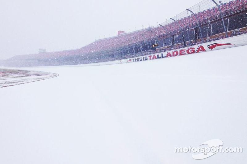 Talladega Superspeedway under snow