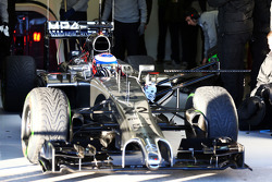 Jenson Button, McLaren MP4-29 leaves the pits running sensor equipment