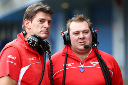 (L to R): Graeme Lowdon, Marussia F1 Team Chief Executive Officer with Dave Greenwood, Marussia F1 Team Race Engineer