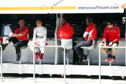 The Marussia F1 Team pit gantry