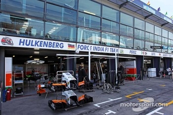 Sahara Force India F1 Team pit garages.