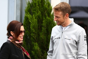 (L to R): Dannii Minogue, with Jenson Button, McLaren