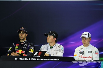 The FIA Press Conference, Red Bull Racing, second; Nico Rosberg, Mercedes AMG F1, race winner; third