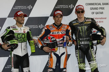 Polesitter Marc Marquez, second place Alvaro Bautista, third place Bradley Smith