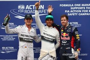 Polesitter Lewis Hamilton, second place Sebastian Vettel, third place Nico Rosberg
