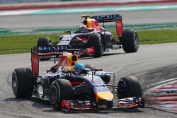 Sebastian Vettel, Red Bull Racing RB10 leads Daniel Ricciardo, Red Bull Racing RB10