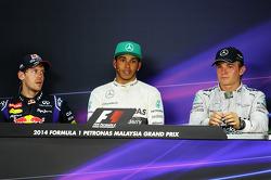 The post race FIA Press Conference, Red Bull Racing, third; Lewis Hamilton, Mercedes AMG F1, race winner; Nico Rosberg, Mercedes AMG F1, seond
