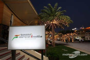 The Sahara Force India F1 Team hospiality building in the paddock at night