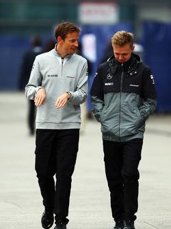 (L to R): Jenson Button, McLaren with team mate Kevin Magnussen, McLaren