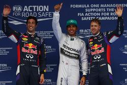 pole for Lewis Hamilton, Mercedes AMG F1, 2nd for Daniel Ricciardo, Red Bull Racing RB10 and 3rd for Sebastian Vettel, Red Bull Racing