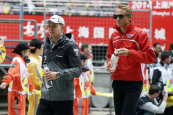 Valtteri Bottas, Williams with Max Chilton, Marussia F1 Team on the drivers parade.