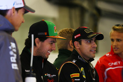 Lotus F1 Team Esteban Gutierrez, Sauber with Sergio Perez, Sahara Force India F1 and Pastor Maldonado, Lotus F1 Team on the drivers parade.