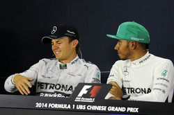 Nico Rosberg, Mercedes AMG F1 and team mate Lewis Hamilton, Mercedes AMG F1 in the FIA Press Conference