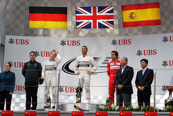 The podium Nico Rosberg, Mercedes AMG F1, second; Lewis Hamilton, Mercedes AMG F1, race winner; Fernando Alonso, Ferrari, third