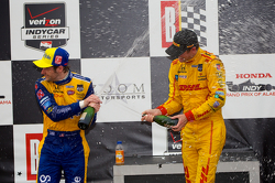 Race winner Ryan Hunter-Reay, second place Marco Andretti