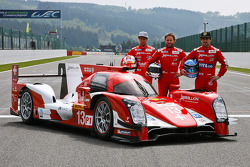 The Rebellion R-One presented in its livery with drivers Mathias Beche, Nick Heidfeld, Nicolas Prost