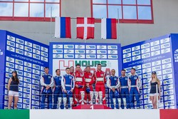 GTC podium: winners Andrea Piccini, Johnny Laursen, Mikkel Mac Jensen, second place Olivier Beretta, David Markozov, Anton Ladygin, third place Kiriil Ladygin, Aleksey Basov, Luca Persiani