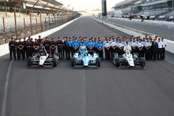 Front row photoshoot: polesitter Ed Carpenter, second place James Hinchcliffe, third place Will Power
