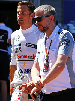 Jenson Button, McLaren with Adam Cooper, McLaren Press Officer