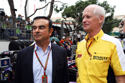 F1: (L to R): Carlos Ghosn, Chairman of Renault on the grid with Jean-Michel Jalinier, Renault F1 Sport President and Managing Director