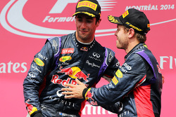 Race winner Daniel Ricciardo, Red Bull Racing celebrates with team mate Sebastian Vettel, Red Bull Racing on the podium
