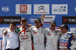 Podium: winner Jose Maria Lopez, second place Gabriele Tarquini, third place Sébastien Loeb