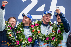 LMGTE Am podium: class winners Kristian Poulsen, David Heinemeier Hansson, Nicki Thiim