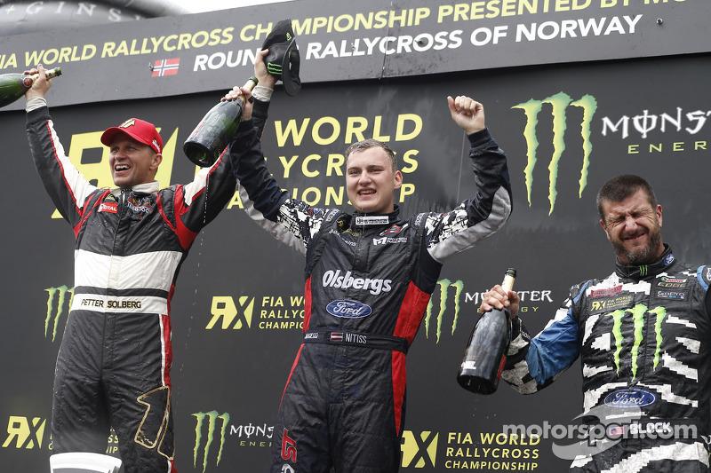 Winner Reinis Nitiss, second place Petter Solberg, third place Ken Block