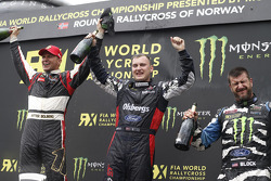 Winner Reinis Nitiss, second place Petter Solberg, third place Ken Block