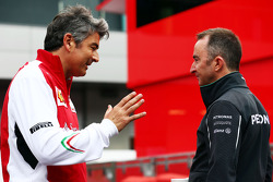 (L to R): Marco Mattiacci, Ferrari Team Principal with Paddy Lowe, Mercedes AMG F1 Executive Director