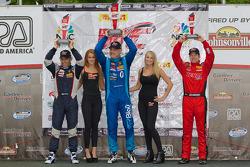GT-A Winners Podium: Henrik Hedman (second, left), Marcelo Hahn (first, center), Jeff Courtney (third, right)