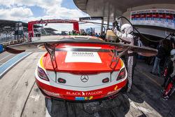 Pit stop for #1 Black Falcon Mercedes-Benz SLS AMG GT3: Lance David Arnold, Jeroen Bleekemolen, Andreas Simonsen, Christian Menzel