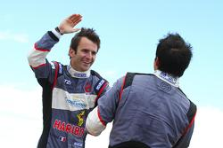 Romain Dumas and Vincent Beltoise celebrate their victories