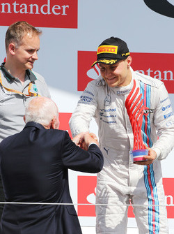Valtteri Bottas, Williams celebrates his second position on the podium with John Surtees