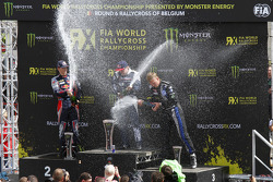 RALLYCROSS: Podium: winner Toomas Heikkinen, second place Timmy Hansen, third place Johan Kristoffersson