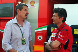 (L to R): Guenther Steiner, Haas F1 Team Prinicipal with Claudio Albertini, Ferrari Head of Customer Teams Power Unit Operations
